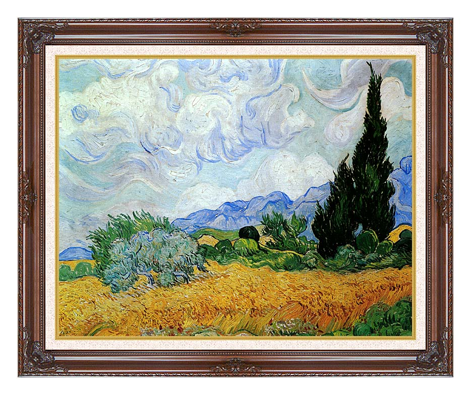 Vincent van Gogh Wheat Field and Cypress Trees (seen in the movie Vanilla Sky) with Dark Regal Frame w/Liner