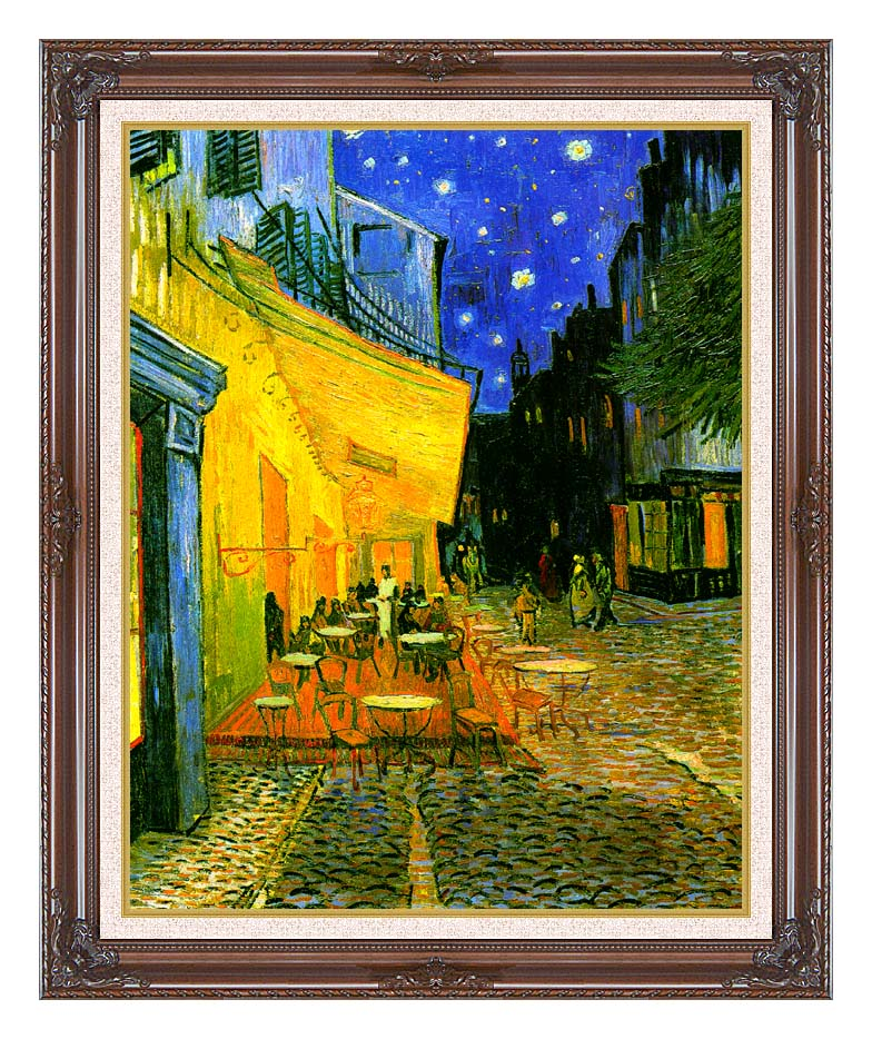 Vincent van Gogh Cafe Terrace at Night with Dark Regal Frame w/Liner
