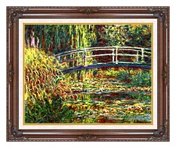 Claude Monet Water Lilies Pink Harmony canvas with dark regal wood frame