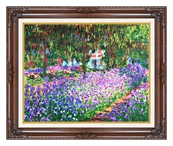 Claude Monet The Artists Garden At Giverny canvas with dark regal wood frame