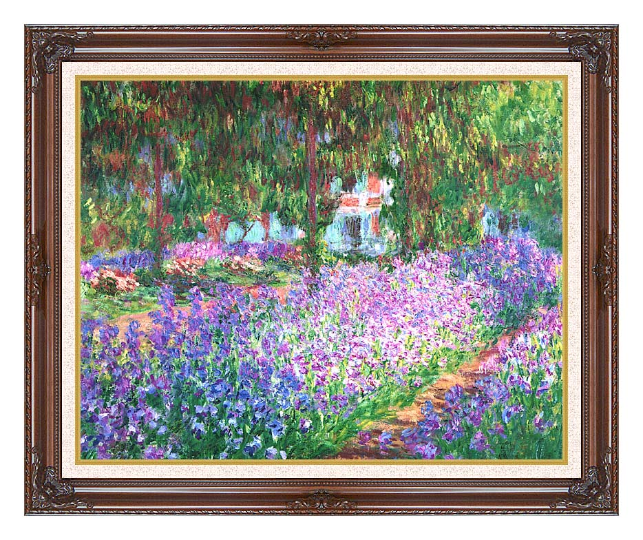 Claude Monet The Artist's Garden at Giverny with Dark Regal Frame w/Liner