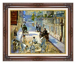 Edouard Manet The Rue Mosnier With Pavers canvas with dark regal wood frame