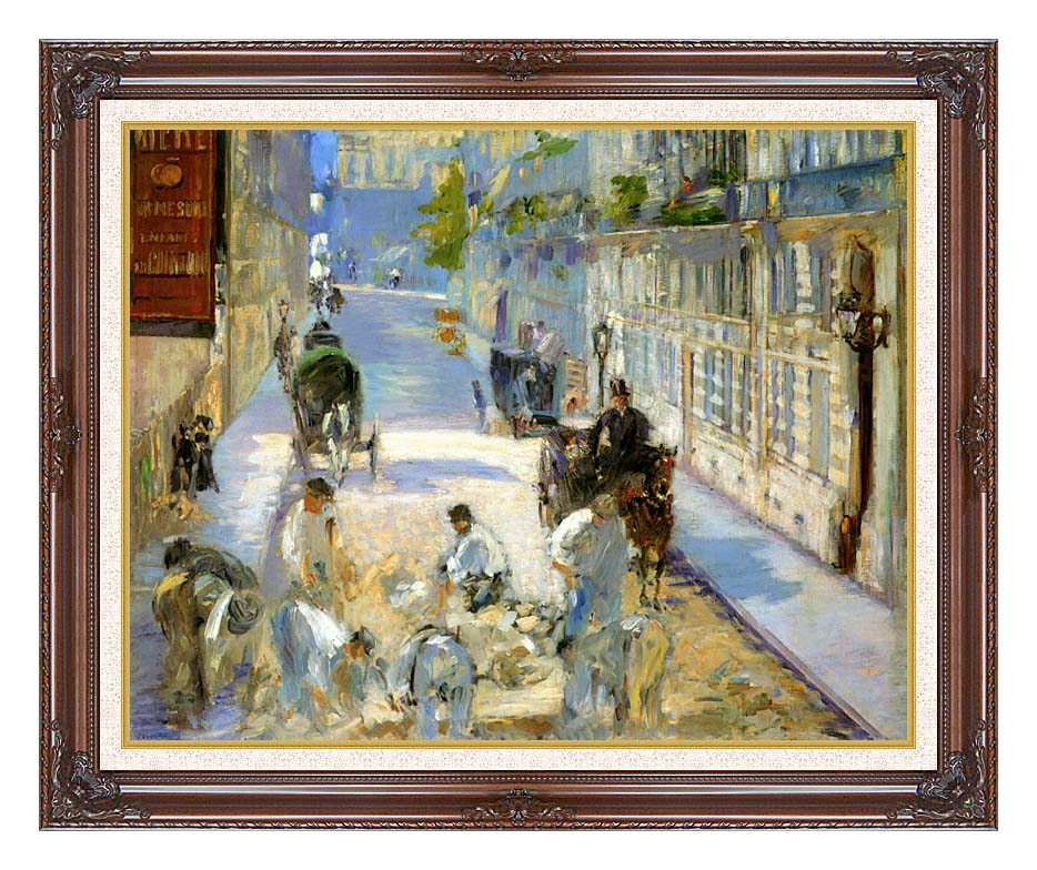 Edouard Manet The Rue Mosnier with Pavers with Dark Regal Frame w/Liner