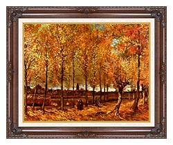 Vincent Van Gogh Lane With Poplars canvas with dark regal wood frame