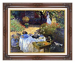Claude Monet Le Dejeuner canvas with dark regal wood frame