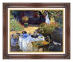 Claude Monet Le Dejeuner canvas with dark regal wood frame
