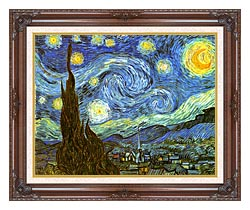 Vincent Van Gogh The Starry Night canvas with dark regal wood frame
