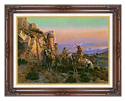 Charles Russell Trouble Hunters canvas with dark regal wood frame