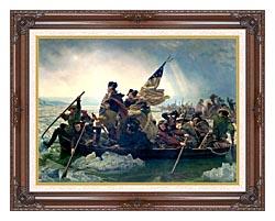 Emanuel Leutze Washington Crossing The Delaware canvas with dark regal wood frame