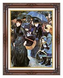 Pierre Auguste Renoir The Umbrellas canvas with dark regal wood frame