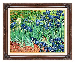 Vincent Van Gogh Irises canvas with dark regal wood frame