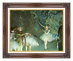 Edgar Degas Ballet Rehearsal canvas with dark regal wood frame