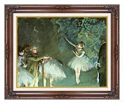 Edgar Degas Ballet Rehearsal canvas with dark regal wood frame