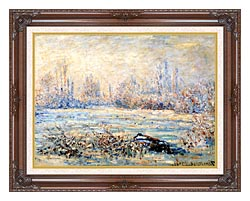 Claude Monet Frost Near Vetheuil canvas with dark regal wood frame