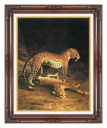 Jacques Laurent Agasse Two Leopards canvas with dark regal wood frame