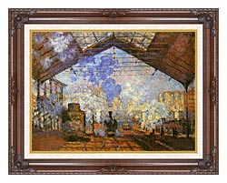 Claude Monet La Gare Saint Lazare canvas with dark regal wood frame