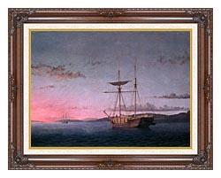 Fitz Hugh Lane Lumber Schooners At Evening On Penobscot Bay canvas with dark regal wood frame
