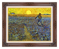 Vincent Van Gogh The Sower canvas with dark regal wood frame