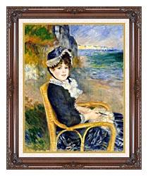 Pierre Auguste Renoir By The Seashore canvas with dark regal wood frame