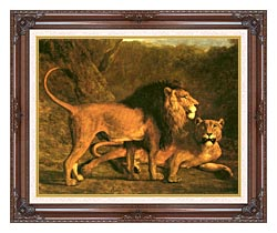 Jacques Laurent Agasse Two Lions Life Size canvas with dark regal wood frame