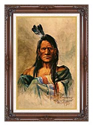 Charles Russell Indian Head canvas with dark regal wood frame