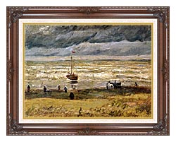Vincent Van Gogh Beach At Scheveningen In Stormy Weather canvas with dark regal wood frame