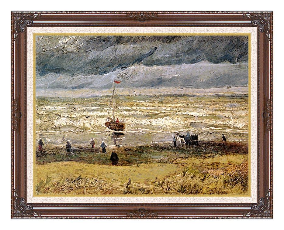 Vincent van Gogh Beach at Scheveningen in Stormy Weather with Dark Regal Frame w/Liner