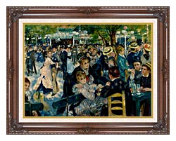 Pierre Auguste Renoir At The Moulin De La Galette canvas with dark regal wood frame