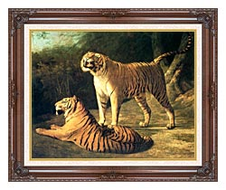 Jacques Laurent Agasse Two Tigers Life Size canvas with dark regal wood frame