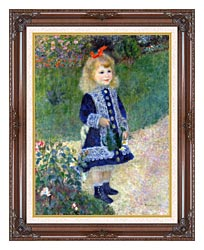 Pierre Auguste Renoir A Girl With A Watering Can canvas with dark regal wood frame