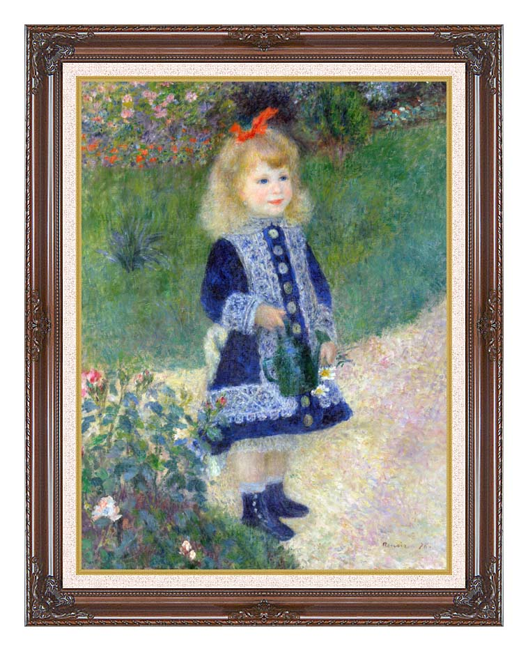 Pierre Auguste Renoir A Girl with a Watering-Can with Dark Regal Frame w/Liner