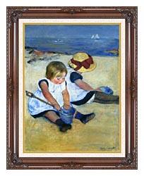 Mary Cassatt Children Playing On The Beach canvas with dark regal wood frame