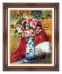 Pierre Auguste Renoir Roses In A Vase canvas with dark regal wood frame