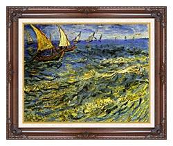 Vincent Van Gogh Seascape At Saintes Maries canvas with dark regal wood frame