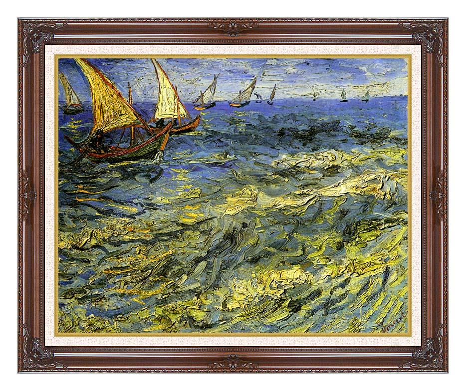 Vincent van Gogh Seascape at Saintes-Maries with Dark Regal Frame w/Liner