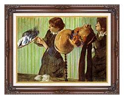 Edgar Degas Little Milliners canvas with dark regal wood frame