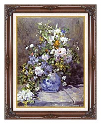 Pierre Auguste Renoir Spring Bouquet canvas with dark regal wood frame