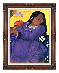 Paul Gauguin Woman With Mango canvas with dark regal wood frame