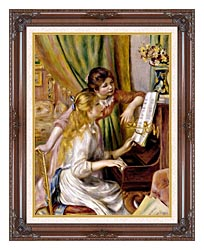 Pierre Auguste Renoir At The Piano canvas with dark regal wood frame