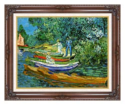 Vincent Van Gogh Bank Of The Oise At Auvers canvas with dark regal wood frame