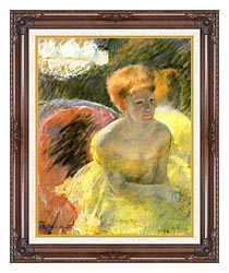 Mary Cassatt At The Theater Woman In A Loge canvas with dark regal wood frame