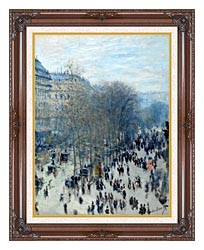 Claude Monet Boulevard Des Capucines canvas with dark regal wood frame
