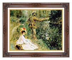 Pierre Auguste Renoir The Angler canvas with dark regal wood frame