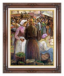 Camille Pissarro Market At Pontoise canvas with dark regal wood frame