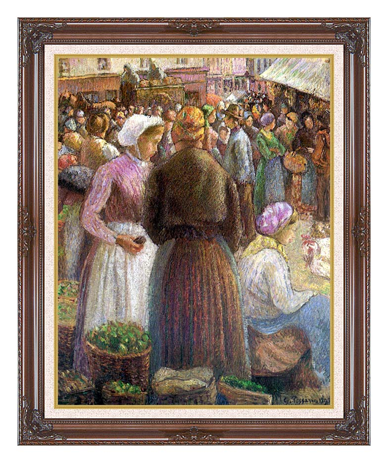 Camille Pissarro Market at Pontoise with Dark Regal Frame w/Liner