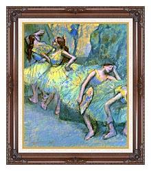 Edgar Degas Ballet Dancers In The Wings canvas with dark regal wood frame