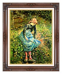 Camille Pissarro The Shepherdess canvas with dark regal wood frame