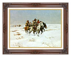 Charles Russell The Snow Trail canvas with dark regal wood frame