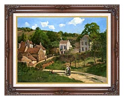 Camille Pissarro The Hermitage At Pontoise canvas with dark regal wood frame