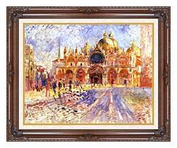 Pierre Auguste Renoir Piazza San Marco Venice canvas with dark regal wood frame